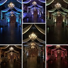 Uplighting can dramatically change the mood of any room for any event!  #lighting #colorful #drapery #uplighting #chandelier