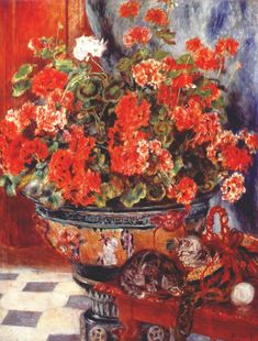 Pierre Auguste Renoir, Geraniums and cats 1881 oil on canvas private collection