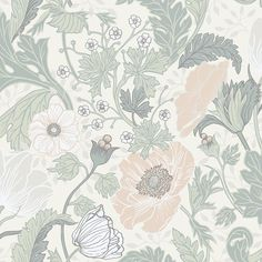Anemone Light Grey Floral Brewster Wallpaper Wallpaper Brewster Beiges Grays Greens Floral & Plants Wallpaper Flower Power Wallpaper , Non Woven, Easy to clean , Easy to wash, Easy to strip Power Wallpaper, Plant Wallpaper, Wallpaper Roll, Grey Floral Wallpaper, Botanical Wallpaper, Floral Wallpapers, Floral Backgrounds, Floral Pattern Wallpaper, Brewster Wallpaper