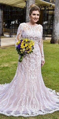 Boho wedding dresses with sleeves are so inspiring and absolutely perfect for those who love flowy light gowns. Boho chic is one of the top trending. Plus Wedding Dresses, Princess Wedding Dresses, Plus Size Wedding, Bridal Dresses, Wedding Gowns, Trendy Wedding, Modest Wedding, Casual Wedding, Elegant Wedding