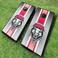 Designed with a sporty racing striped background, these New Mexico Lobos NCAA cornhole boards are great for displaying collegiate pride...