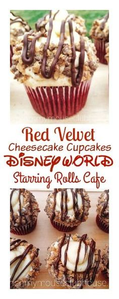 A copycat recipe of the Red Velvet Cheesecake Cupcake from Disney World's Starring Rolls Cafe. Decadent red velvet cupcakes, filled and topped with a cheesecake topping, fluffy vanilla buttercream, toffee bits and drizzled with melted chocolate.