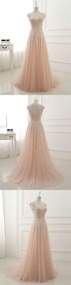 A-line Lace Appliqued Illusion Neck Long Simple Prom Dresses,MB 93