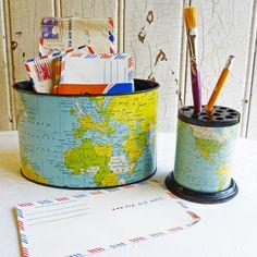 Vintage old world globe pencil pen holder desk accessory home decor vintage world map desk set 1950s map lithograph paper holder pencil holder mid century desk organizer set made in japan gumiabroncs Images