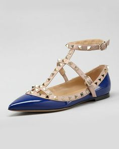Rockstud Two-Tone Gladiator Ballerina Flat, Blue/Poudre by Valentino at Neiman Marcus.