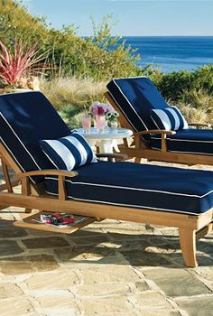 Relax in your own backyard with these comfortable lounge chairs from Frontgate. Pool Furniture, Outdoor Furniture, Outdoor Decor, Tropical Furniture, Adirondack Furniture, Asian Furniture, Furniture Cleaning, Outdoor Stuff, Furniture Plans