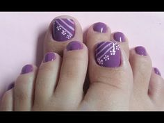 50 toe nail designs in 2019 020 Purple Toe Nails, Pretty Toe Nails, Toe Nail Color, Cute Toe Nails, Summer Toe Nails, Toe Nail Art, Nail Colors, Toenail Art Designs, Pedicure Designs