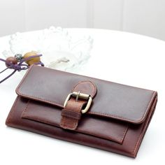 Ladies Leather Buckle Wallet  Antique Brown by TheLeatherStore
