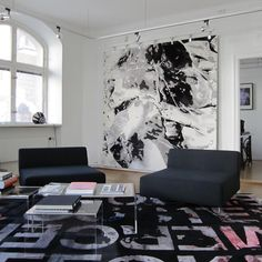 Arty Abstract Area Rugs by Calle Henzel Art Of Living, Rugs In Living Room, Living Spaces, Unique Rugs, Rugs On Carpet, Area Rugs, Design Inspiration, Flooring, Contemporary