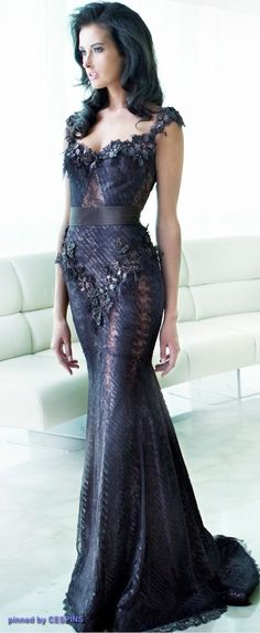looks like an evil Queen gown....very sexy-mysterious....(by Ziad Nakad)