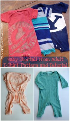 It's so fun to sewing clothing for your baby especially when it's upcycling a nostalgic tee shirt. You can see your baby wearing your favorite tee shirt made into a romper to fit them with this free baby romper pattern! Baby Clothes Patterns, Sewing Patterns Free, Free Sewing, Free Pattern, Baby Romper Pattern Free, Pattern Sewing, Free Baby Patterns, Sewing Designs, Onesie Pattern