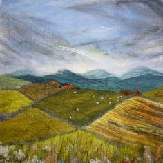 'Patchwork Landscape' SOLD - Threlfall's Art Studio | Silk Paintings | Felt Paintings | Acrylics | Caren and Pete | Country, Town and Seascapes | Workshops |