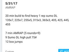 Sumo isn't my style and haven't done heavy DL in MONTHS so overall I'm super pumped with my numbers! Pleased with the AMRAP too!