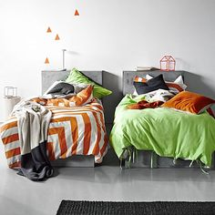 Intensify your room with the impressive French-inspired design on the sumptuous sateen Kids Corner Stripe Quilt Cover, Orange Poppy from Aura by Tracie Ellis.