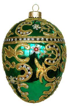 Edward Bar Azov Emerald Egg glass Christmas ornament