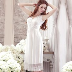 Silky Soft Natural Modal Summer Princess Style Women's Nightgown White Long Sleepwear Vintage Roupao Feminino Free Shipping ** More info could be found at the image url. Lingerie Party, Nightgowns For Women, Princess Style, Night Gown, White Dress, Popular, Bedtime, Womens Fashion, Free Shipping