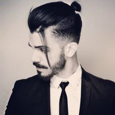 Man Bun Haircut Fade with Cool Beard