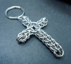 Full Persian Chainmaille Cross - Keychain or Christmas Ornament | lanzacreations - Accessories on ArtFire