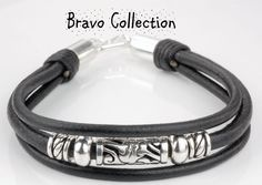 3B-369 Aussie Made Sterling Silver Leather Men Bangle Wristband Bracelet.