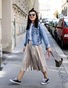 Jean jacket, white converse, hair do, dress