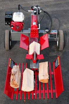 Log Splitter Frontal View - Shown With Optional Table Grate and Four-Way Wedge Metal Projects, Welding Projects, Woods Equipment, Firewood Processor, Splitting Wood, Wood Cutter, Log Splitter, Tools And Toys, Welding Table