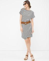 Stripe Wrap Blouson Dress