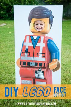 Create a photo-op at your Lego birthday party with easy to follow instructions to make your very own Lego guy cut out