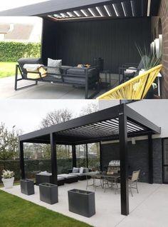 Modern Patio Design, Modern Gazebo, Terrace Design, Deck Design, Garden Design, Outdoor Garden Rooms, Outdoor Pergola, Louvered Pergola, Backyard Patio Designs