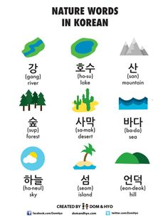 Here, we show you some common nature words. how many are you familiar with? Here, we show you some common nature words. how many are you familiar with? Easy Korean Words, Korean Words Learning, Korean Phrases, Japanese Language Learning, Korean Quotes, Learning Spanish, Learning Italian, Learn Basic Korean, How To Speak Korean