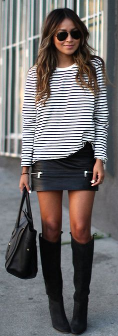 winter / spring transition outfit ... leather skirt, stripes and boots.