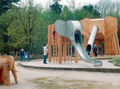 Wood or Metal Playground Equipment? – Playground Fun For Kids Playground Slide, Natural Playground, Playground Design, Outdoor Playground, Playground Ideas, Landscape Architecture, Landscape Design, Elephant Park, Elephant Trunk