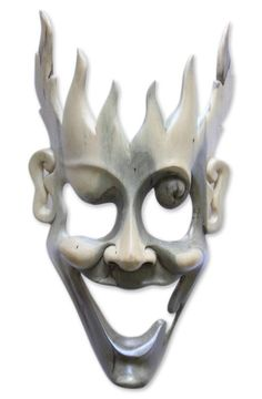 Unique Modern Wood Mask - Man of Fire | NOVICA