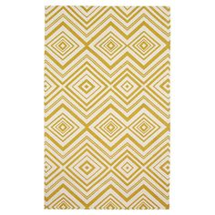 Bring a pop of pattern to your living room or master suite with this hand-loomed cotton rug, featuring a geometric chevron-inspired motif in ivory and citron...