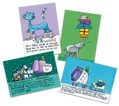 8 Postkarten im Set: Winterlieder, Kinderlieder, Weihnachtslieder Winter postcards for Kids