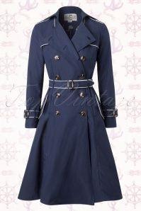 Collectif Clothing Marlene Marine Sailor Navy Blue Trenchcoat 151 31 14774 20150911 0018W
