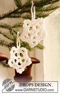 """DROPS Extra 0-734 - Hæklet DROPS snestjerne til jul i """"Cotton Viscose"""". - Free pattern by DROPS Design"""