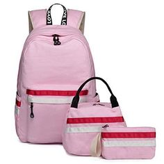 c56ed09cd1 School Backpack Girls Bookbag fit up to 15inch laptop Schoolbag with (Pink)   fashion