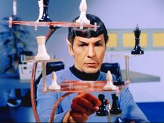 Mr. Spock analyzing his next Chess move.