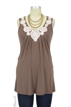 Zahra Applique Nursing Tunic in Acorn Brown...Love This, Cant Even Tell Its a Nursing Top!