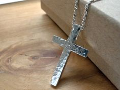Hammered Cross silver necklace - Unique handcrafted jewelry in unisex style by Kristian Jessie Silver