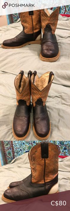 Brahma Round Toe Cowboy Boot Women's Size 10 These beautiful boots are real cow hide and made in Canada! 🇨🇦 They are in very good used condition with the soles in almost perfect condition. Super comfy Vibram soles are great for casual or work wear! Tag in boot says size 8, this is a men's size eight. They are unisex and fit me well and I am a size 9.5/10 women's.  Make me an offer and check out my closet for bundle deals. 🤗🌻  Top rated seller 🌟  Same or next day shipping 🚚 Brahma Shoes Cowboy Boots Women, Almost Perfect, Cow Hide, Top Rated, Work Wear, Size 10, Budget, Canada, Toe