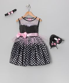Take a look at this Xcessory International Black Polka Dot Sash Dress Set - Girls on zulily today!