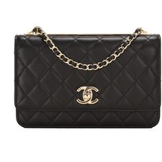 Pre-Owned Chanel Black Quilted Lambskin Trendy CC Wallet On Chain... ($3,675) ❤ liked on Polyvore featuring bags, handbags, black, chain handbags, preowned handbags, flap handbags, chanel and chanel handbags