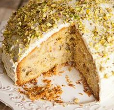 Find out how to make delicious Rhubarb, Orange, Pistachio & Cardamom Cake with this vegetarian recipe from Veggie Magazine Sweet Recipes, Cake Recipes, Dessert Recipes, Cardamom Cake, Beaux Desserts, Vegetarian Recipes, Cooking Recipes, Brunch, Rhubarb Cake