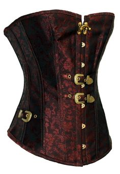 This sexy and stylish red retro style corset with individual buckles detailing makes a creative yet delightful addition to almost any wardrobe. Its fabric panels feature a gorgeous, brocade style patt