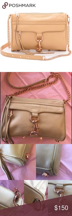 """Rebecca Minkoff Mini MAC Crossbody Beige leather bag with rose gold hardware. Detachable crossbody strap. Zipper enclosure. Lined exterior zip pocket. Interior slip pocket. Please see pics for all signs of wear and minimal color transfer on back. 9""""Lx2""""Wx6""""H; 20"""" strap drop. 😊MAKE AN OFFER TODAY😊 Rebecca Minkoff Bags Crossbody Bags"""