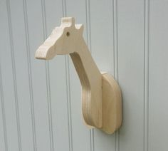 Wall hooks - Pick any handmade, paintable wooden birch animal hooks or hangers - great for kids' rooms and safari theme nurseries