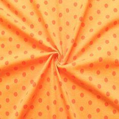 """Baumwoll Stretch Jersey """"Punkte klein"""" Farbe Gelb-Orange 14266"""