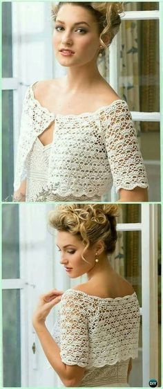 Crochet Blouse Patterns Crochet Exquisite Bridal Topper Free Pattern - Crochet Women Crop Top Free Patterns - Crochet Women Summer Crop Top Free Patterns: Collection of Girl and Women Summer Tops, Fringed Tops, Beach Wear, Bra Tops Col Crochet, Gilet Crochet, Crochet Woman, Crochet Cardigan, Crochet Shawl, Crochet Tops, Crochet Bolero Pattern, Crochet Shrugs, Crochet Sweaters