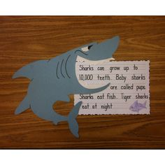 Hungry Shark school art project with shark facts.  I think this is a great idea for projects on specific animals or even people.  Having a picture of what you are studying and then writing important or interesting facts about it.  I think this is a wonderful way to incorporate art into writing and research.  Tracy Holian